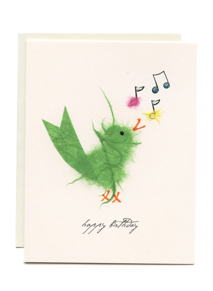 """Happy Birthday""  Bird W/ Music Notes"