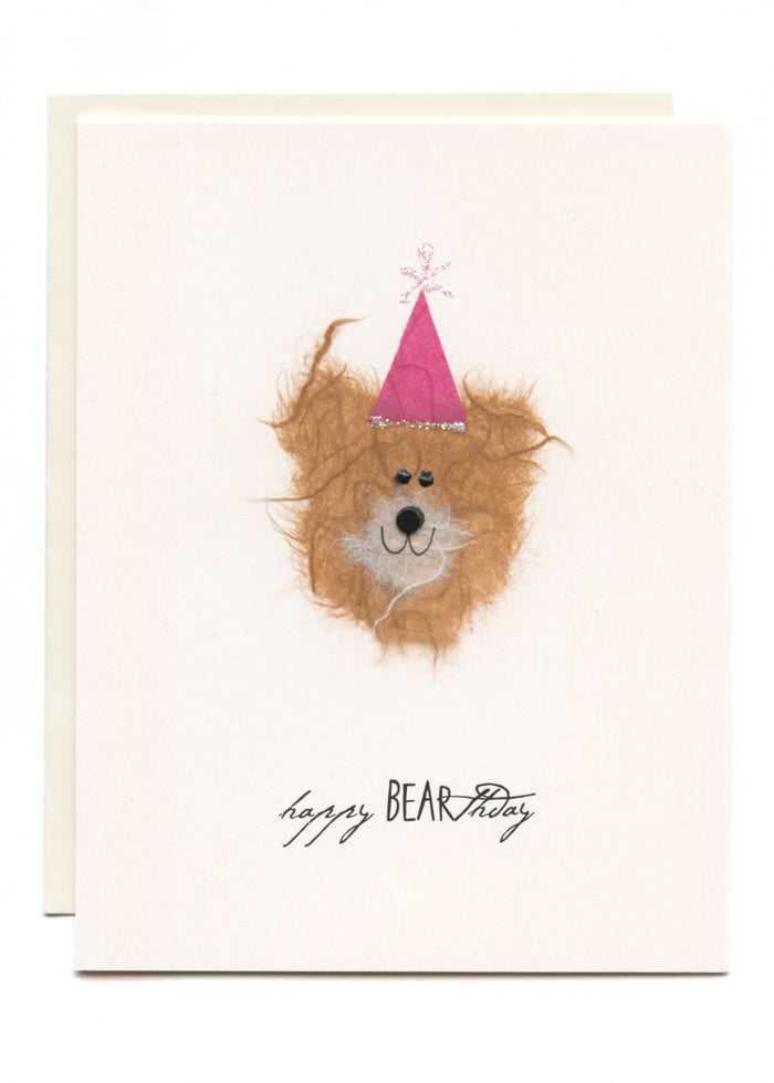 """Happy BEARthday""  Bear w Pink Party Hat"