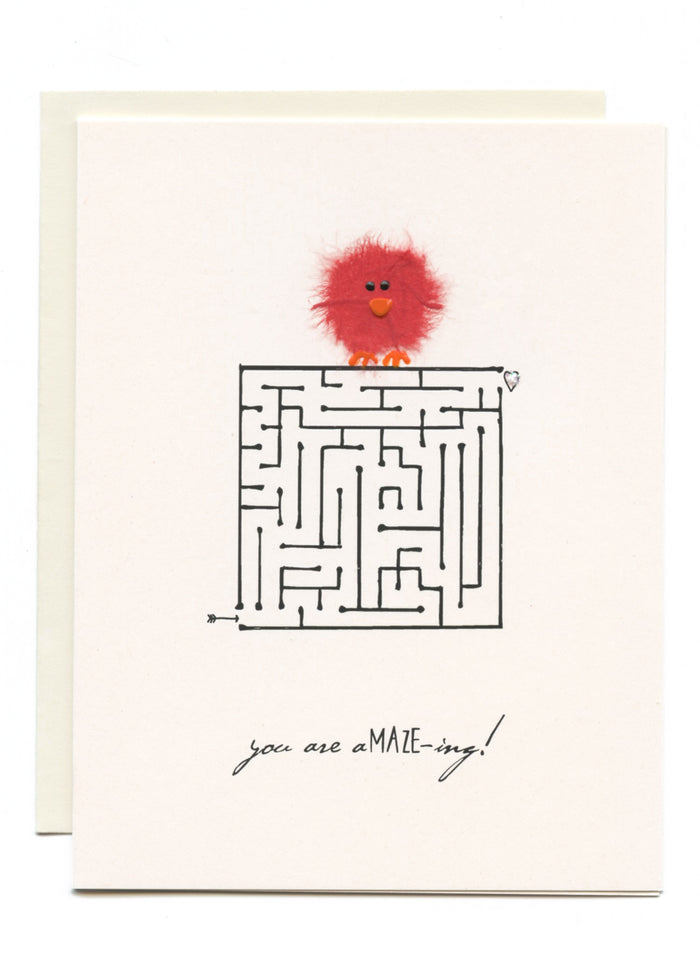 """You Are A-maze-ing!""  Red Bird on Maze"