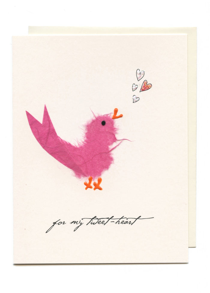 """For My Tweet-Heart""  Pink Bird w Notes"