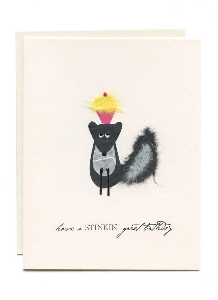 """Have a Stinking' Great Birthday""  Skunk w Cupcake"