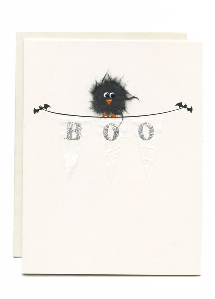 """BOO"" Crow on Banner"