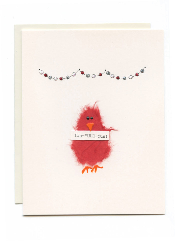 """Fab-YULE-ous""  Red Bird w Banner"