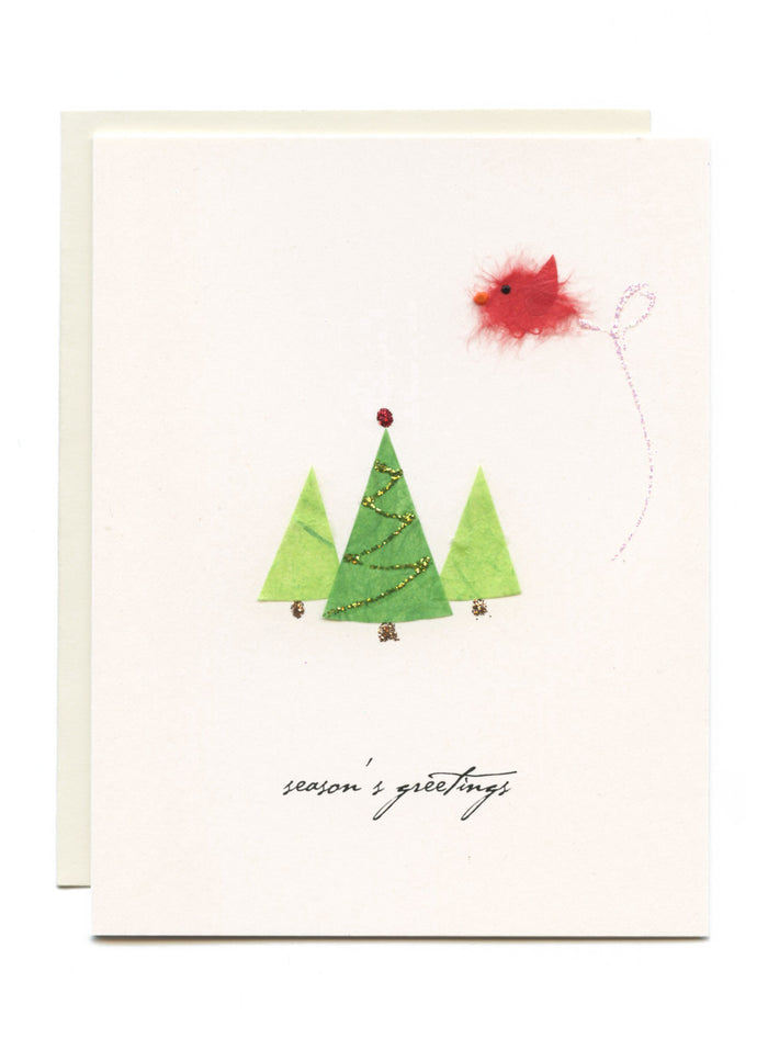 """Season's Greetings""  Bird with Trees"