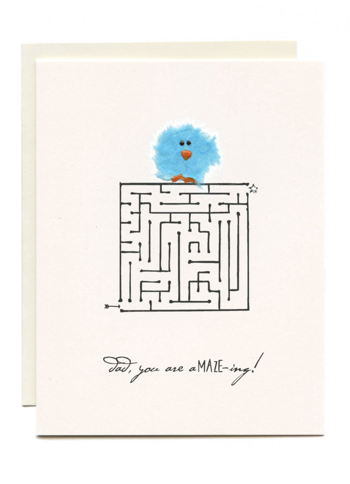 """Dad, You Are A-Maze-ing""  Blue Bird on Maze"