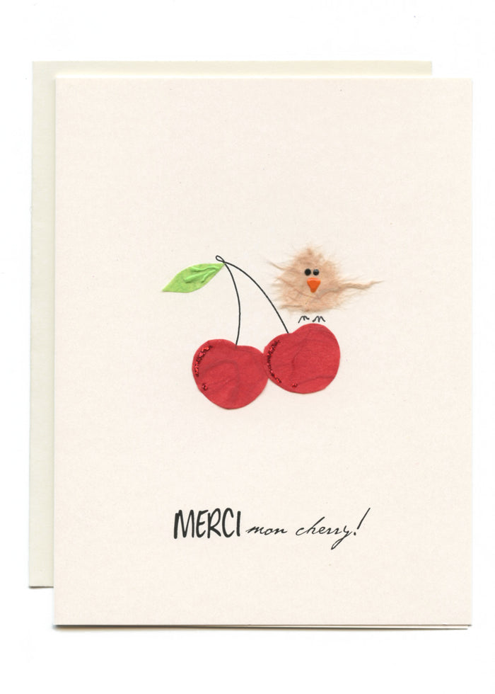 """MERCI mon Cherry!""  Bird on Cherries"