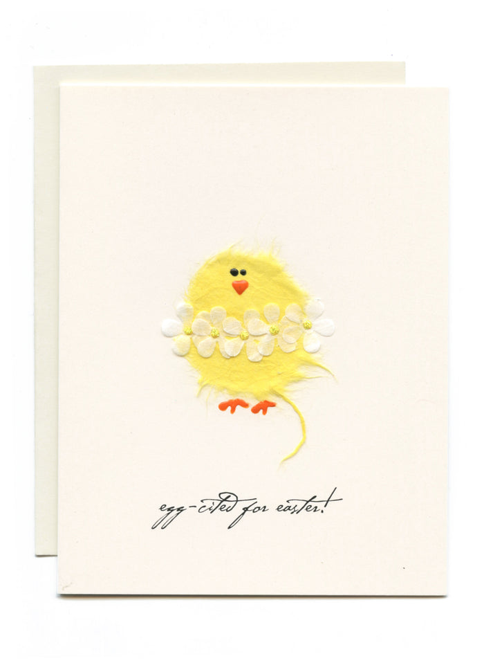 """Egg-cited for easter!""  Chick w Daisy Chain"
