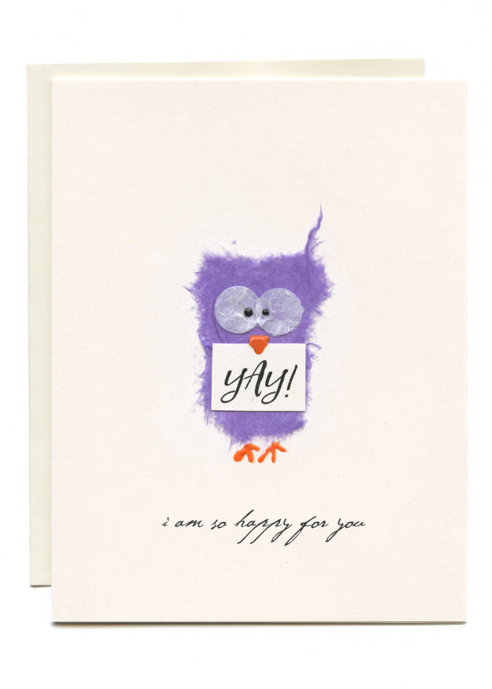"""YAY - I am So Happy For You""  Purple Owl w Sign"