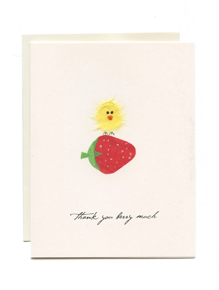 """Thank You Berry Much""  Bird on Strawberry"