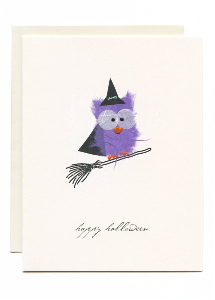 """Happy Halloween"" Witch on Broom"
