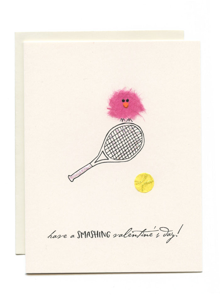 """Have a SMASHING valentine's day!"" Bird on Racket"