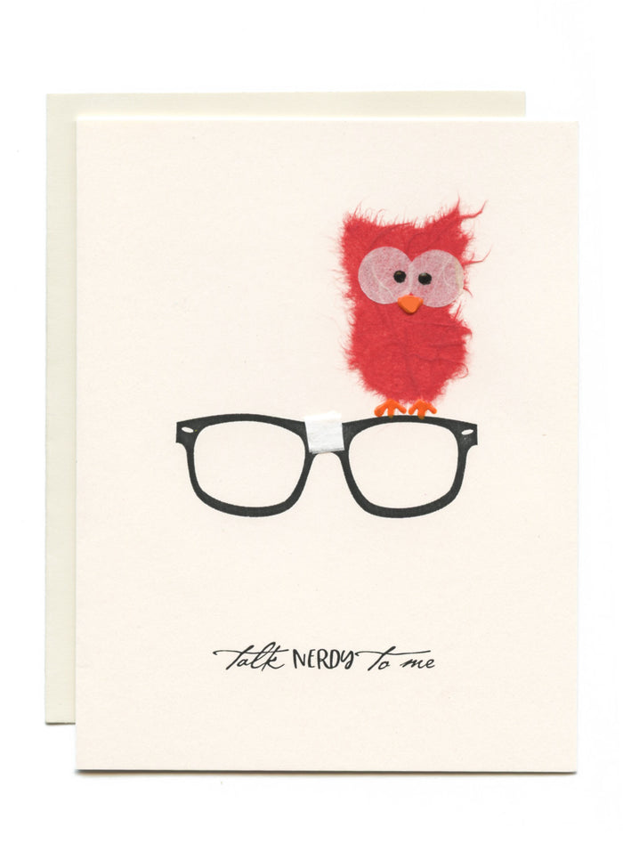 """Talk Nerdy to Me"" Owl on Glasses"