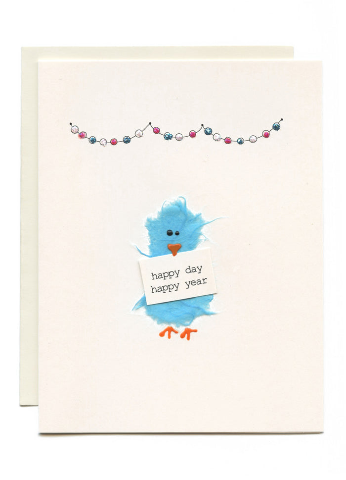 """Happy Day, Happy Year"" Bird with Garland"