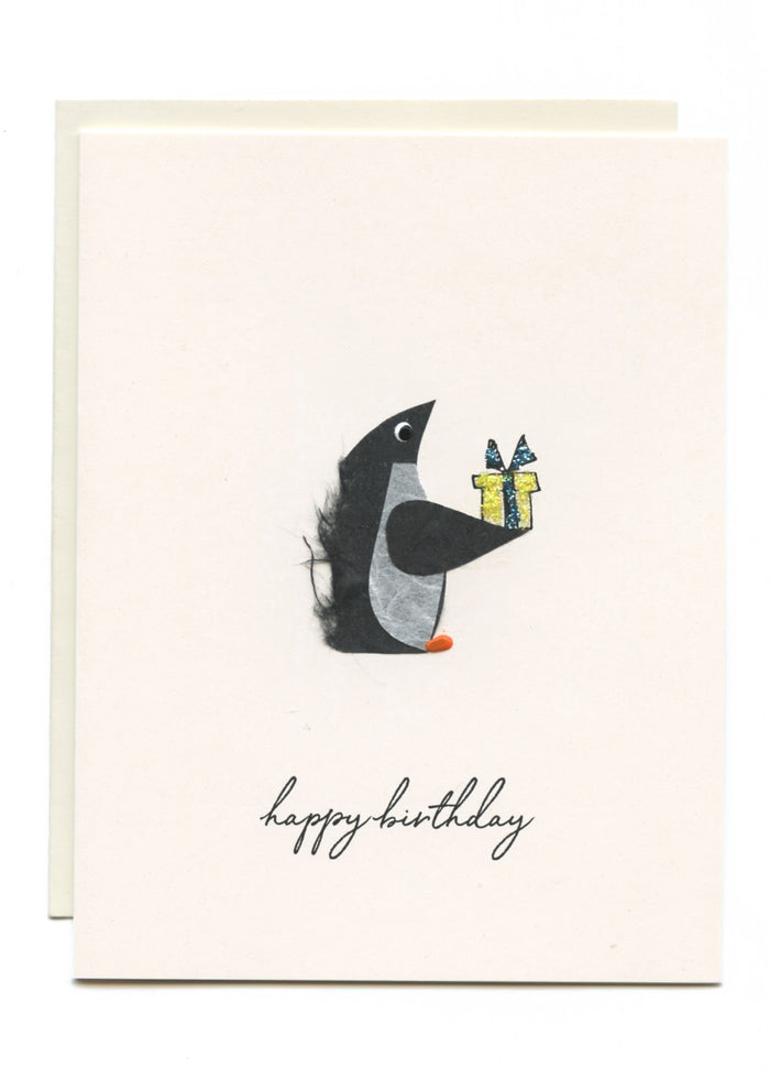 """Happy Birthday"" Penguin with Present"