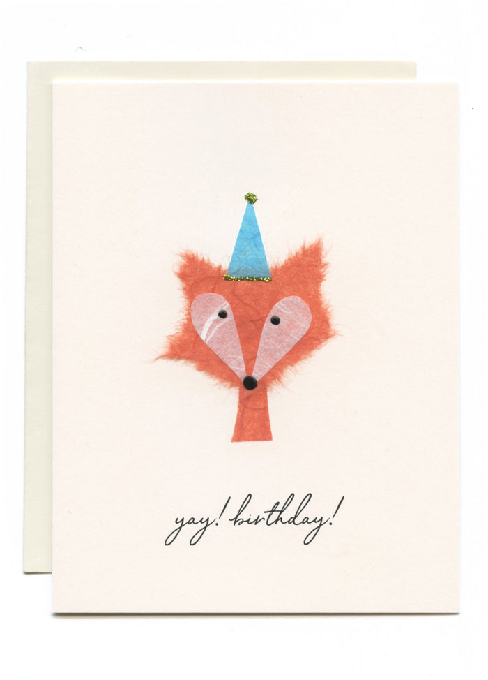 """Yay, Happy Birthday!"" Fox with Party Hat"