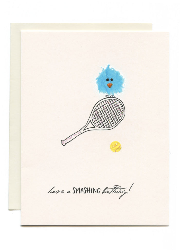 """Have a SMASHING Birthday!"" Bird on Tennis Racket"