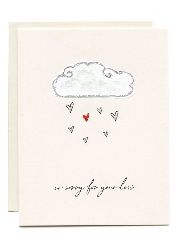 """Sorry For Your Loss"" Cloud W/ Hearts"