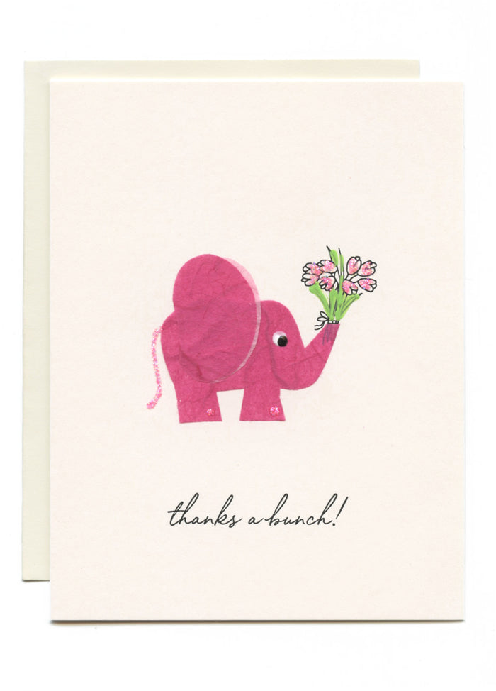 """Thanks a Bunch!"" Elephant with Bouquet"