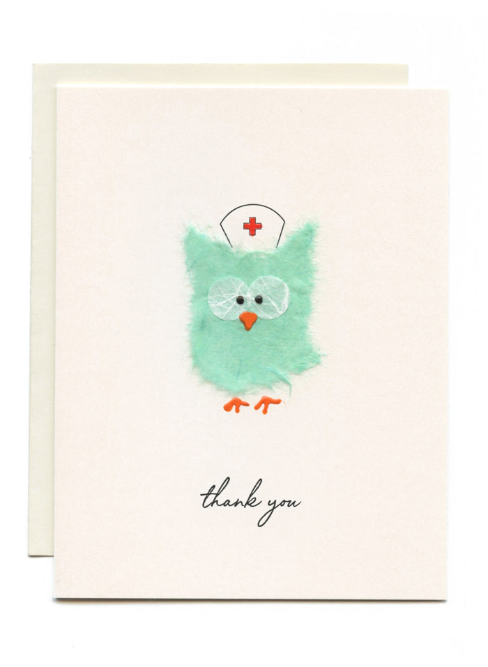 """Thank You"" Bird with Nurse Hat"