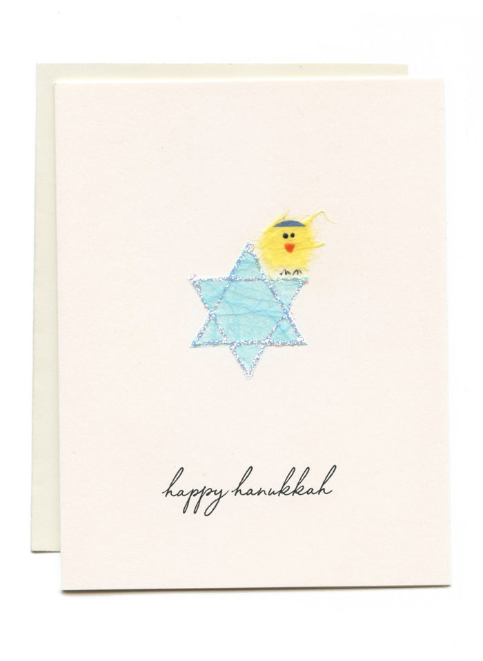 """Happy Hanukkah"" Bird on Star of David"