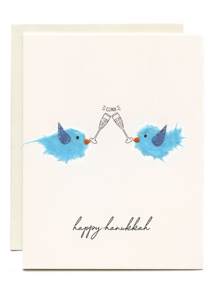 """CLINK! Happy Hanukkah"" Birds w Champagne"