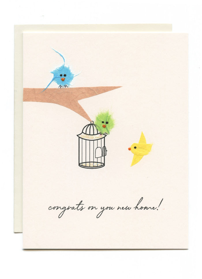 """Congrats on Your New Home!"" Birds with Cage"