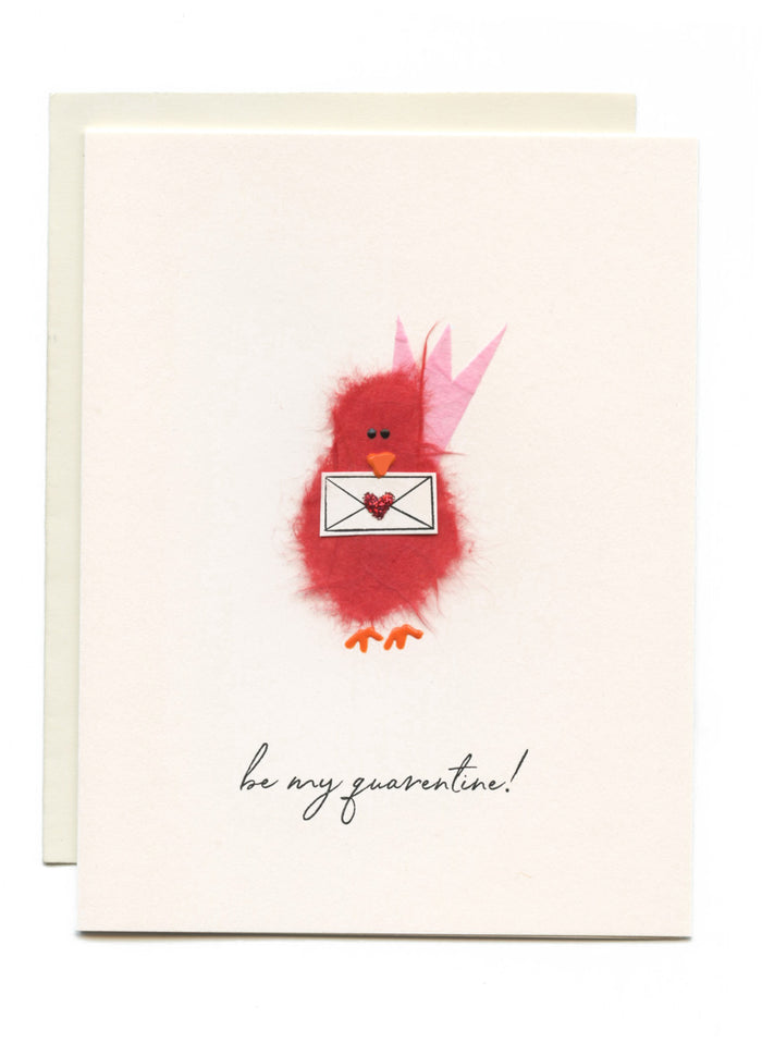 """Be My Quarentine"" Red Bird w Envelope"