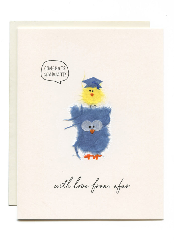 """GONGRATS GRADUATE - with Love From Afar"" Blue Owl and Yellow Bird"