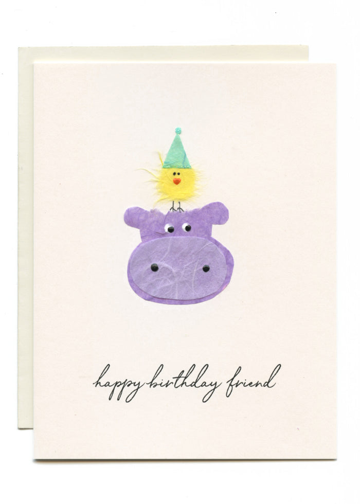 """Happy Birthday Friend"" Hippo with Yellow Bird"