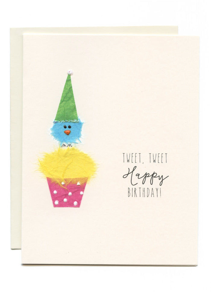 """Tweet, Tweet Happy Birthday""  Bird on Cupcake"