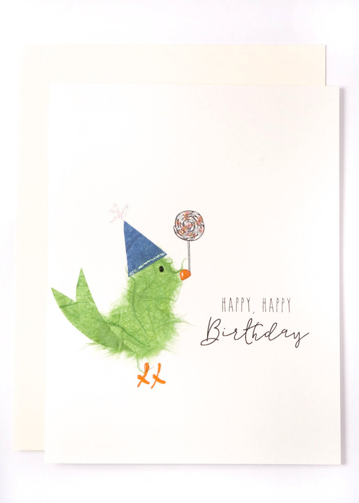 """Happy, Happy Birthday""  Green Bird with Lollipop"
