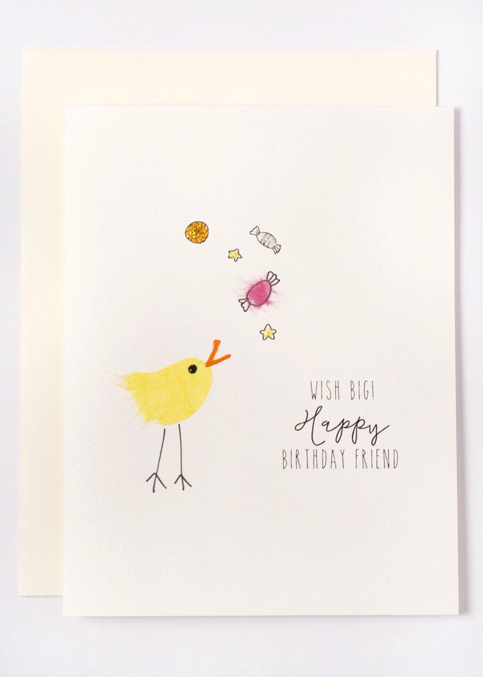 """Wish Big!"" Happy Birthday  Bird with Candies"