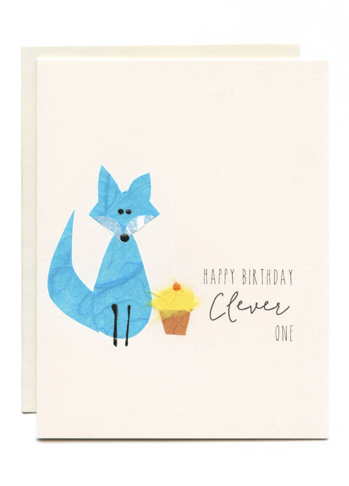 """Happy Birthday Clever One!""  Fox with Cupcake"