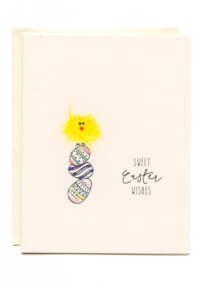 """Sweet Easter Wishes""  Bird on Stacked Eggs"