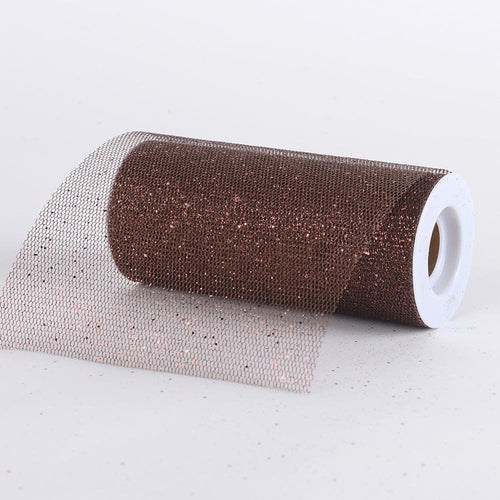 Chocolate - Premium Glitter Net - ( W: 6 Inch | L: 10 Yards )