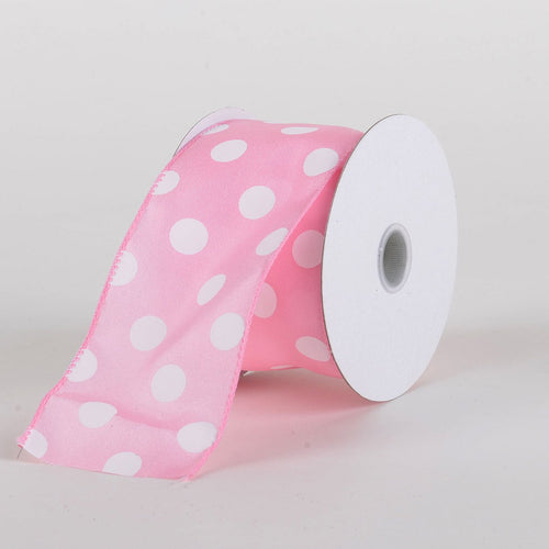 Satin Polka Dot Ribbon Wired Pink with White Dots ( W: 2-1/2 inch | L: 10 Yards )