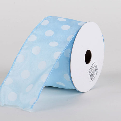 Satin Polka Dot Ribbon Wired Light Blue with White Dots ( W: 2-1/2 inch | L: 10 Yards )