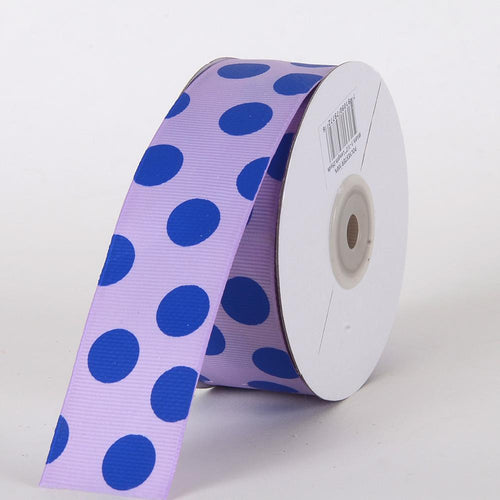 Grosgrain Ribbon Jumbo Dots Lavender with Royal Dots ( W: 1-1/2 inch | L: 25 Yards )
