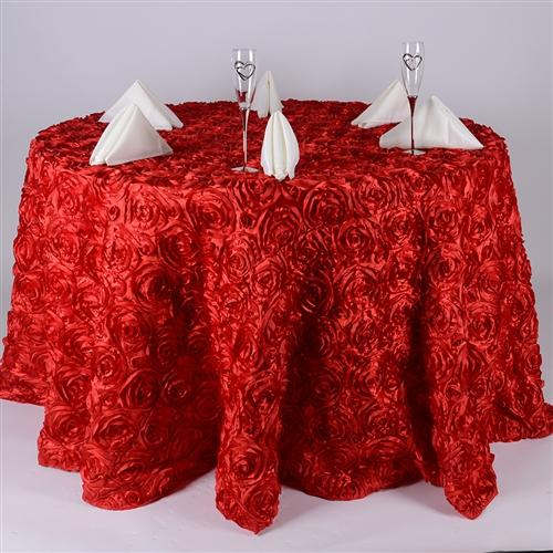Red 120 Inch Rosette Tablecloths