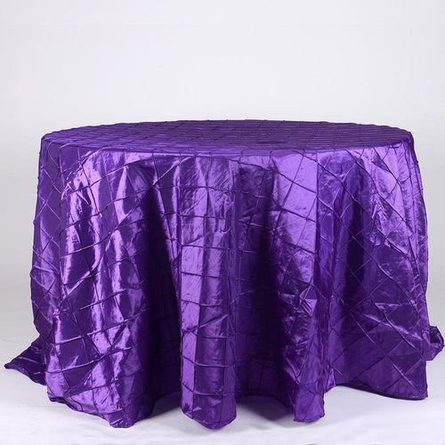 Purple - 120 inch Round Pintuck Satin Tablecloth