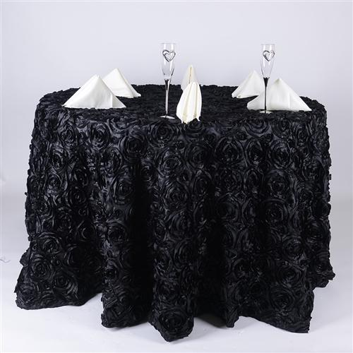 Black 132 Inch Rosette Tablecloths