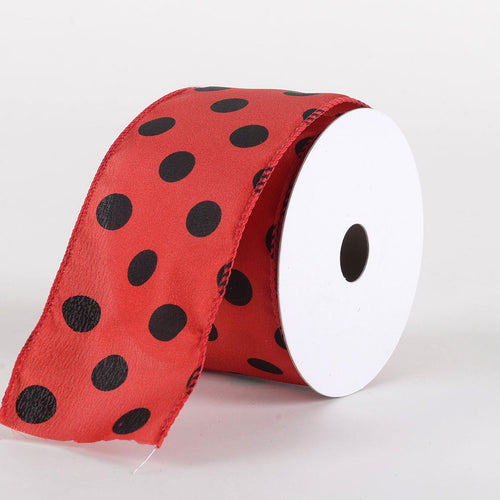 Satin Polka Dot Ribbon Wired Red with Black Dots ( W: 2-1/2 inch | L: 10 Yards )