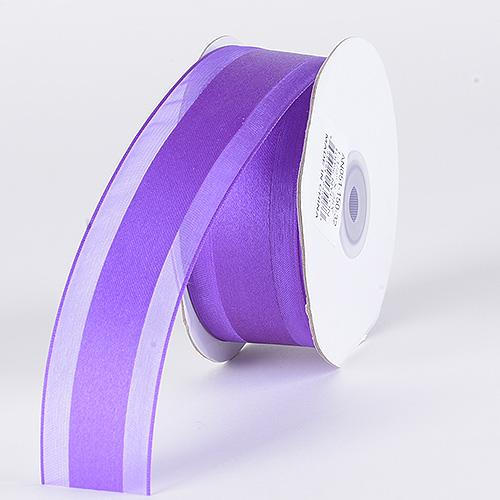 Purple - Organza Ribbon Satin Center - ( 1-1/2 inch | 25 Yards )