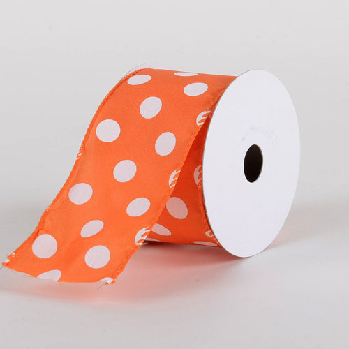 Satin Polka Dot Ribbon Wired  Orange with White Dots ( W: 2-1/2 inch | L: 10 Yards )