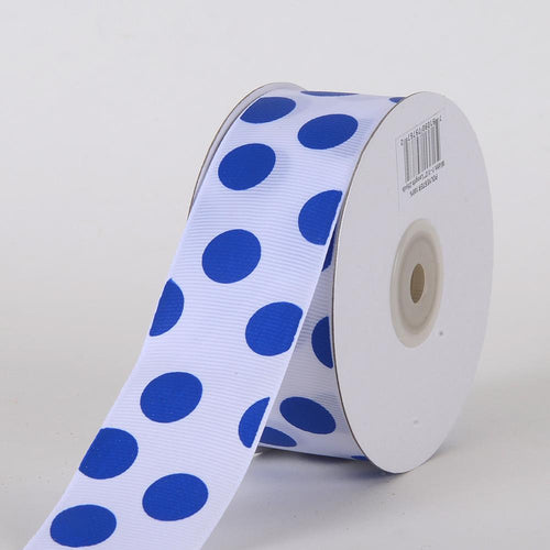 Grosgrain Ribbon Jumbo Dots White with Royal Dots ( W: 1-1/2 inch | L: 25 Yards )
