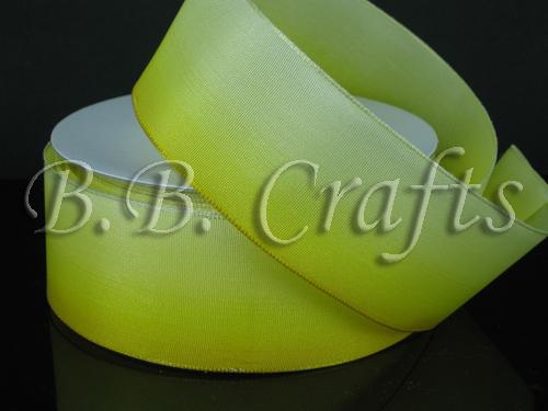 Ombre Ribbon Wired Edge Yellow White ( W: 1-1/2 inch | L: 25 Yards )