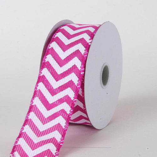 Fuchsia - Chevron Burlap Wired Edge - ( W: 1-1/2 inch | L: 10 Yards )