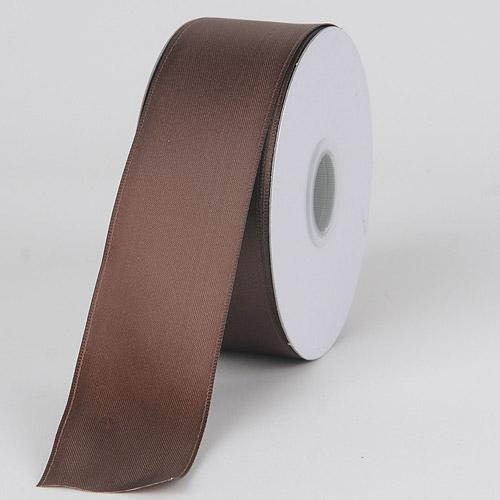Chocolate - Satin Ribbon Wire Edge - ( W: 1-1/2 inch | L: 25 Yards )