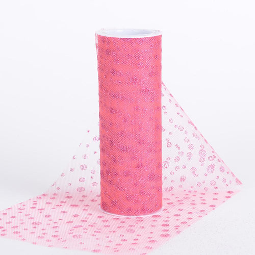 Coral - 6 Inch x 10 Yards Sparkle Dot Tulle - ( W: 6 Inch | L: 10 Yards )