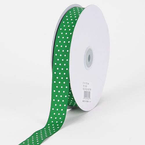 Grosgrain Ribbon Swiss Dot Emerald with White Dots ( W: 3/8 inch | L: 50 Yards )